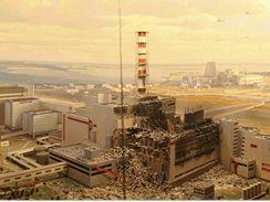 Model černobylské elektrárny po explozi.