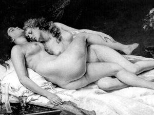 Spánek, 1866. Gustav Courbet.