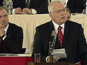 Václav Klaus při projevu