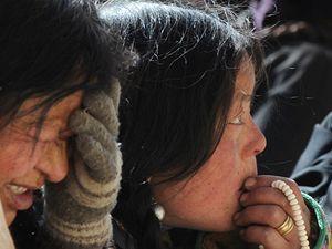 Tibeťané demonstrují proti čínské nadvládě.