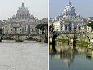 Srovnání. Rozvodněná řeka Tibera nedaleko baziliky sv. Petra ve Vatikánu. (Fotografie vpravo je z února 2002).
