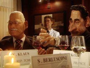 Francie se baví na český účet. Gumové verze prezidentů Klause a Sarkozyho.
