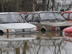 Zaplavené automobily na zahradě v obci Úhřetická Lhota na Chrudimsku, kde se 5. března vylila z břehů místní řeka Novohradka.
