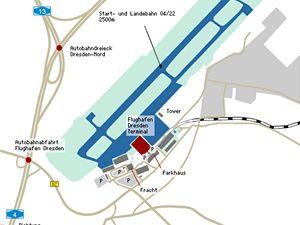 Mapka drážďanského letiště.