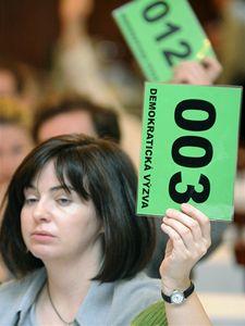 Hlasování na mimořádné valné hromadě Demokratické výzvy Strany zelených, která se konala 4. dubna v Obecním domě v Praze.