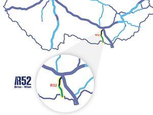 Mapa dalniční sítě ČR včetně rychlostní silnice R52 k rakouským hranicím.