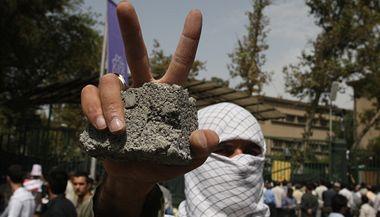 Músávího stoupenci při masových demonstracích v Íránu