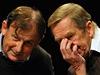 V�clav Havel a Michael �antovsk� na tiskov� konferenci k 20. v�ro�� politick�ho p�evratu v �eskoslovensku.