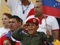 Mladý příznivec venezuelského prezidenta Hugo Cháveze