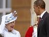 Barack Obama s královnou Alžbětou II. při návštěvě Británie