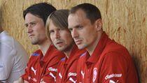 Fotbaloví reprezentanti (zleva) Tomá� Rosický, Jaroslav Pla�il a Jaroslav Drobný  | na serveru Lidovky.cz | aktu�ln� zpr�vy