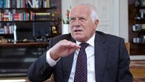 Prezident Vclav Klaus pi rozhovoru pro LN