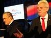 Karel Schwarzenberg a Miloš Zeman v poslední prezidentské debatě