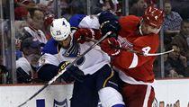 �eský hokejista Detroitu Red Wings Jakub Kindl (vpravo) a Chris Stewart  ze St. Louis Blues | na serveru Lidovky.cz | aktu�ln� zpr�vy