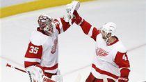 Hokejista Detroitu Jakub Kindl s golmanem Jimmym Howardem. | na serveru Lidovky.cz | aktu�ln� zpr�vy