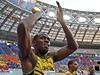 Usain Bolt před poloprázdnými tribunami.
