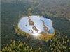 Spr�va N�rodn�ho parku �umava provedla leteck� monitorov�n� a vyhled�v�n� lo�isek k�rovce. Na sn�mku je Chalupsk� sla�, v pop�ed� Vyd�� potok.