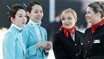 Stevardky �SA zat�m l�taj� v uniform�ch OP Prost�jov, to letu�ky Korean Air (vlevo) obl�kl v�hlasn� m�dn� tv�rce Gianfranco Ferr�