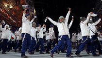 Česká výprava přichází na slavnostní zahájení XXII. zimních olympijských her