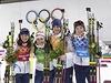Veronika Vitková, Gabriela Soukalová, Jaroslav Soukup a Ondřej Moravec slaví stříbro ze smíšené biatlonové štafety