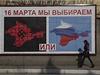 '16. března si vybereme' - billboard v krymském Sevastopolu upozorňující na blížící se referendum.