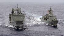 Australian Navy ships the HMAS Success (L) and the HMAS Toowoomba
