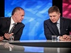 Kdo s koho? Novým slovenským prezidentem bude buď Andrej Kiska (vlevo), nebo Robert Fico.