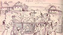 Kresba odjezdu odvedenc� ze Svojanova 27. �ervence 1914. Pramen: Pam�ti Václava... | na serveru Lidovky.cz | aktu�ln� zpr�vy