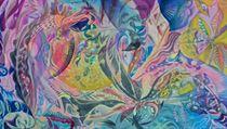 Otto Placht: Suchým listem (2014). Tempera, neon, akryl, plátno, 150 x 120 cm. | na serveru Lidovky.cz | aktu�ln� zpr�vy