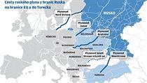 Cesty ruského plynu z hranic Ruska na hranice EU a do Turecka. | na serveru Lidovky.cz | aktu�ln� zpr�vy