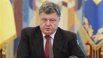 Ukrajinsk� prezident Petro Poro�enko p�i sv�m projevu.