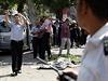 Policisté organizují místo činu o explozi v Káhiře.