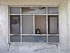Afghánská holčička vykukuje z okna poničeného při atentátech před inaugurací...