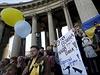 Protiválečná demonstrace v Petrohradu.
