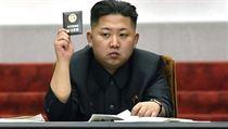 Kim Čong-un na zasedání severokorejského Nejvyššího lidového shromáždění.