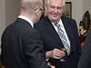 Prezident Milo� Zeman slavil 2. ��jna na Pra�sk�m hrad� s �stavn�mi �initeli sv� 70. narozeniny. Mezi pozvan�mi byl tak� premi�r Bohuslav Sobotka.