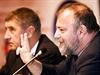 Ministr Andrej Babiš a Hynek Kmoníček na konferenci Český národní zájem