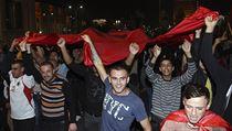 Pod albánskou vlajkou: albán�tí fanou�ci demonstrují v centru Tirany. | na serveru Lidovky.cz | aktu�ln� zpr�vy