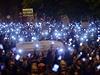 Protesty proti danění internetového připojení v Maďarsku.