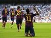 Útočník Barcelony Neymar slaví brzký gól v síti Realu.