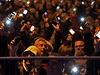 Lidé v Budapešti protestují proti plánovanému zdanění internetu.