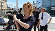 Libuše Rudinská při natáčení dokumentu Pavel Wonka se zavazuje.