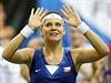 Lucie Šafářová slaví další vítězství ve Fed Cupu.
