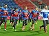 Tr�nink �esk� reprezentace p�ed kvalifika�n�m utk�n�m proti Islandu.