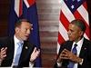 Australský prezident Tony Abbbott (vlevo) a americký prezident Barack Obama na...