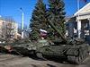 Vojenská vozidla v Perevalsku na východě Ukrajiny