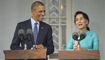V�dkyn� barmské opozice Su �ij a prezident USA Obama p�i spole�ném proslovu | na serveru Lidovky.cz | aktu�ln� zpr�vy