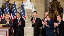 Slavnostn� ceremoni�l odhalen� busty V�clava Havla