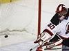 Brankář New Jersey sleduje gól Jiřího Hudlera (Calgary Flames).