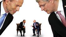 Zleva do prava: australský premiér Tony Abbott, prezident USA Barack Obama,... | na serveru Lidovky.cz | aktu�ln� zpr�vy